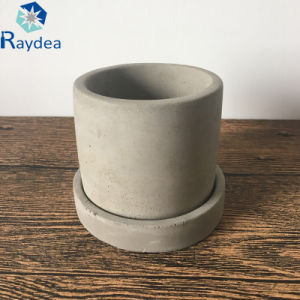Small Cement Plant Pot with Saucer pictures & photos