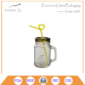 Glass Mason Jars Drinking Mason Jar with Handle and Straw pictures & photos