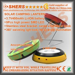 Portable Mini Solar Powered 4 SMD LED Camping Lantern Round Shape pictures & photos