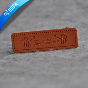 Men Fashion Custom PU Embossed Jeans Leather Label for Garment pictures & photos