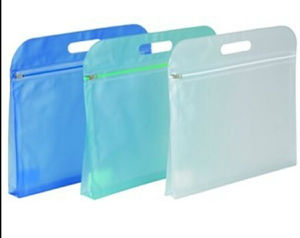 PVC Hand-Held Zipper Bag Matte Translucent Document Bag pictures & photos