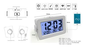 Turn Button Electronic Digital Alarm Clock with Night Light Sensor and USB Charge for Phone pictures & photos