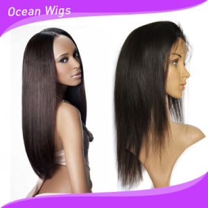 Natural Black Straight Full Lace Wig with Silk Top Base pictures & photos
