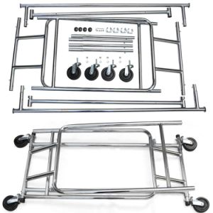 Stainless Steel Chrome Finish Garment Rolling Collapsible Rack Rail Double Rail Jp-Gc406 pictures & photos