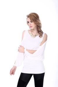 Women′s White New Blouse Neck Design Korea Design Blouse pictures & photos