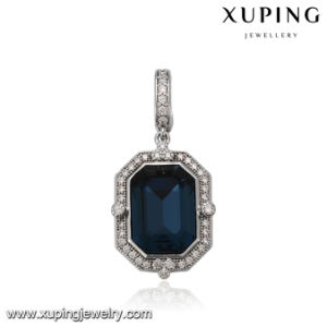 32908 Fashion Square Dark Blue Pendant with Crystals From Swarovski Jewelry pictures & photos