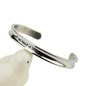 Custom Personalized Fashion Jewelry Stainless Steel Open Cuff Bangle pictures & photos
