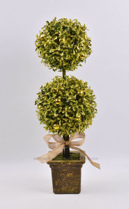Artificial Milan Leaves Potted with Single/Double Ball for Christmas Decoration
