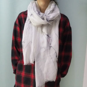 Voile Printed Sailing Scarf White