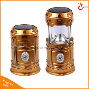 Portable Rechargeable Collapsible LED Flashlight Solar Camping Lantern for Emergency Tent Outdoor Lighting pictures & photos