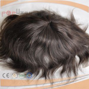 Mono Lace PU Coated Human Hair Men′s Hair System, Toupee pictures & photos