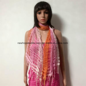 100% Polyester, Viscose Material Fashion Scarf with Lace Decoration pictures & photos