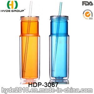 2017 New Arrival Double Wall Plastic Mug with Straw (HDP-3067) pictures & photos