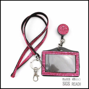 Bling Crystal Rhinestone Neck Lanyard with Horizontal Card Holder pictures & photos