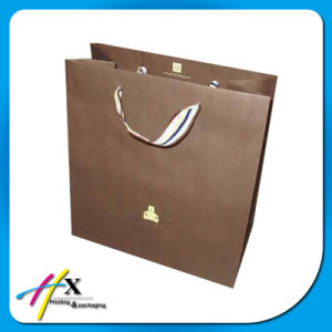 White & Brown Kraft Twist Handle Paper Packing Bag pictures & photos