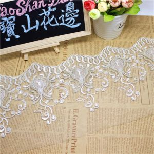 Factory Stock Wholesale 17.5cm Width Embroidery Bi-Color Gold Thread Polyester Net Lace Polyester Embroidery Trimming Fancy Mesh Lace for Garments Accessory pictures & photos
