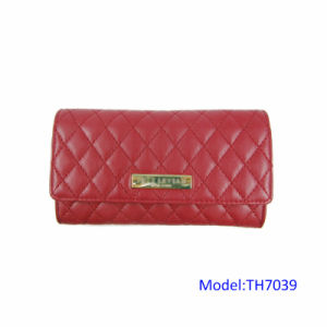 Red Quilted Snap Wallet Women PU Leather Purse with Back Open Pocket pictures & photos