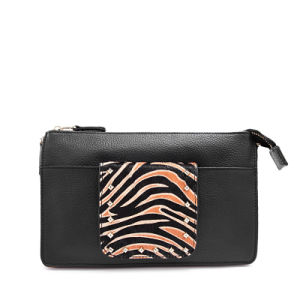 Wholesale Price Zebra Fur and Leather Women Clutch Bag and Purse pictures & photos