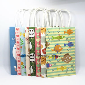 Animal Cartoon Carrier Kraft Paper Gifts Bags Shopping Handle Bags pictures & photos