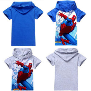 Boys Spiderman Hooded Superhero Kids T-Shirt (A626) pictures & photos