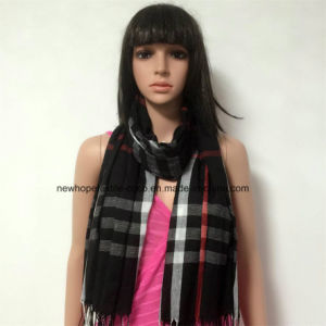 100% Polyester, Voile Yarn Dyed Material Multifunctional Scarf with Checks pictures & photos