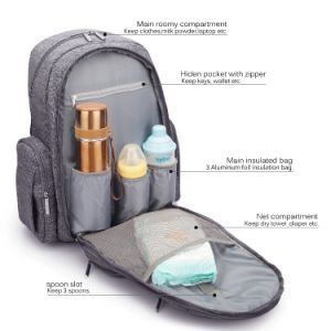 Baby Diaper Bag Mummy Backpack with Insulated Pockets and Stroller Strap pictures & photos