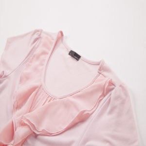 Women′s Organic Cotton Chiffon T Shirt Ladies Pink T-Shirt pictures & photos
