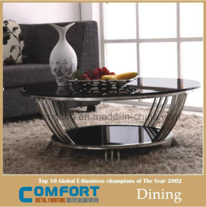 Durable Black Glass Coffee Round Table for Home C8047r
