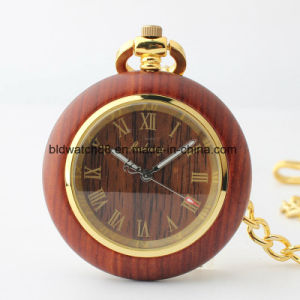 Hot Sale Wood Case Mechanical Pocket Watch with Chain pictures & photos