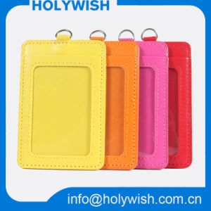Colorful School Leather ID Card Holder with Lanyard