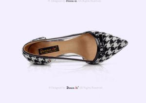 Lady Houndstooth High Heels Pumps Women Leather Bowtie Dress Shoes pictures & photos
