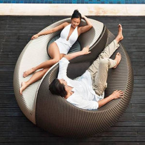 Chinese Style Round Tai Chi Shape Hotel Pool Rattan Leisure Patio Beach Lounger Chair Daybed Sunbed Garden Outdoor Furniture pictures & photos