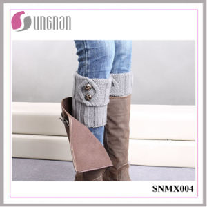 2015 Warm Button Decorate Knit Wool Leg Warmers Feet Socks pictures & photos