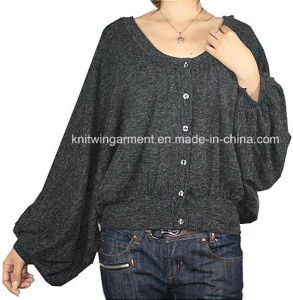 Ladies Knitted Long Sleeve Cardigan Sweater for Casual (12AW-163)