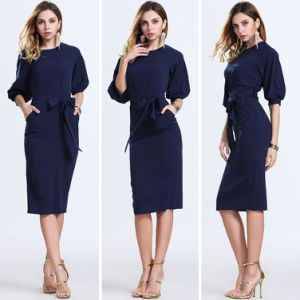 Half Sleeve Round Collar Neck Slim Peplum Pencil Elegant Dress pictures & photos