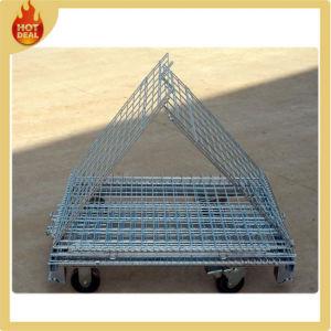 Popular Foldable Storage Wire Mesh Containers with Wheels pictures & photos