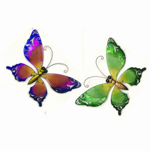 Spring Garden Metal Butterfly Wall Decoration W. Stained Galss