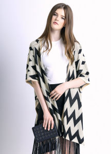 Women Fashion Wave Pattern Cotton Knitted Cardican Sweater Shawl (YKY2032) pictures & photos