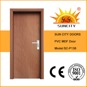 Residential Simple MDF Flush PVC Door with Cheap Price (SC-P136) pictures & photos