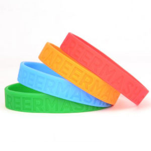Customized Different Color Debossed Logo Wristbands Silicone pictures & photos