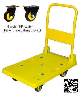 200kg Yellow Platform Hand Truck Noiseless Folding Trolley pictures & photos