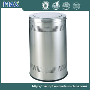Stainless Steel Punching Trash Bin with Swing Lid pictures & photos