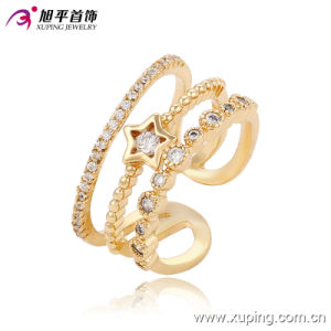Fashion Elegant CZ Star 18k Gold-Plated Women Jewelry Ring -13667 pictures & photos