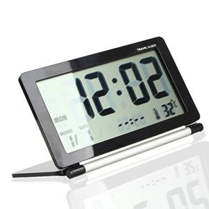 Portable Ultra Thin Silent LCD Digital Large Screen Folding Travel Desk Electronic Alarm Clock pictures & photos