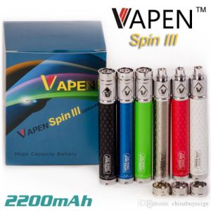 E Cigarette Carbon Fiber Battery 2200mAh Variable Voltage Vapen Spin III Battery pictures & photos