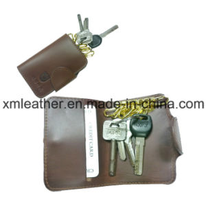 Megnetic Leather Keychain Hook Case Key Holder with Card Case pictures & photos