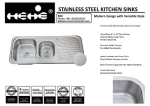 Kitchen Sink with Drain Board, Stainless Steel Sink, Sinks pictures & photos