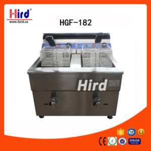 Ce Approved Two Tank Gas Deep Fryer with Double Valves (HGF-182)