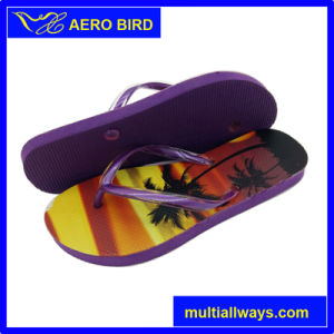 Top Sale Trendy PE Slipper with Tropical Coconut Tree Printing pictures & photos