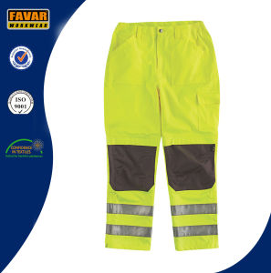 Yellow Elasticated Waist Hi-Vis Reinforced Kneepad Waterproof Trouser